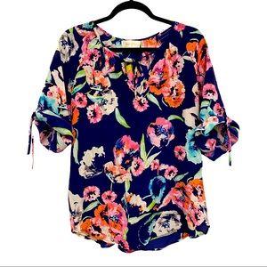 Yumi Kim Silk Floral Tie Neck 3/4 Sleeve Top